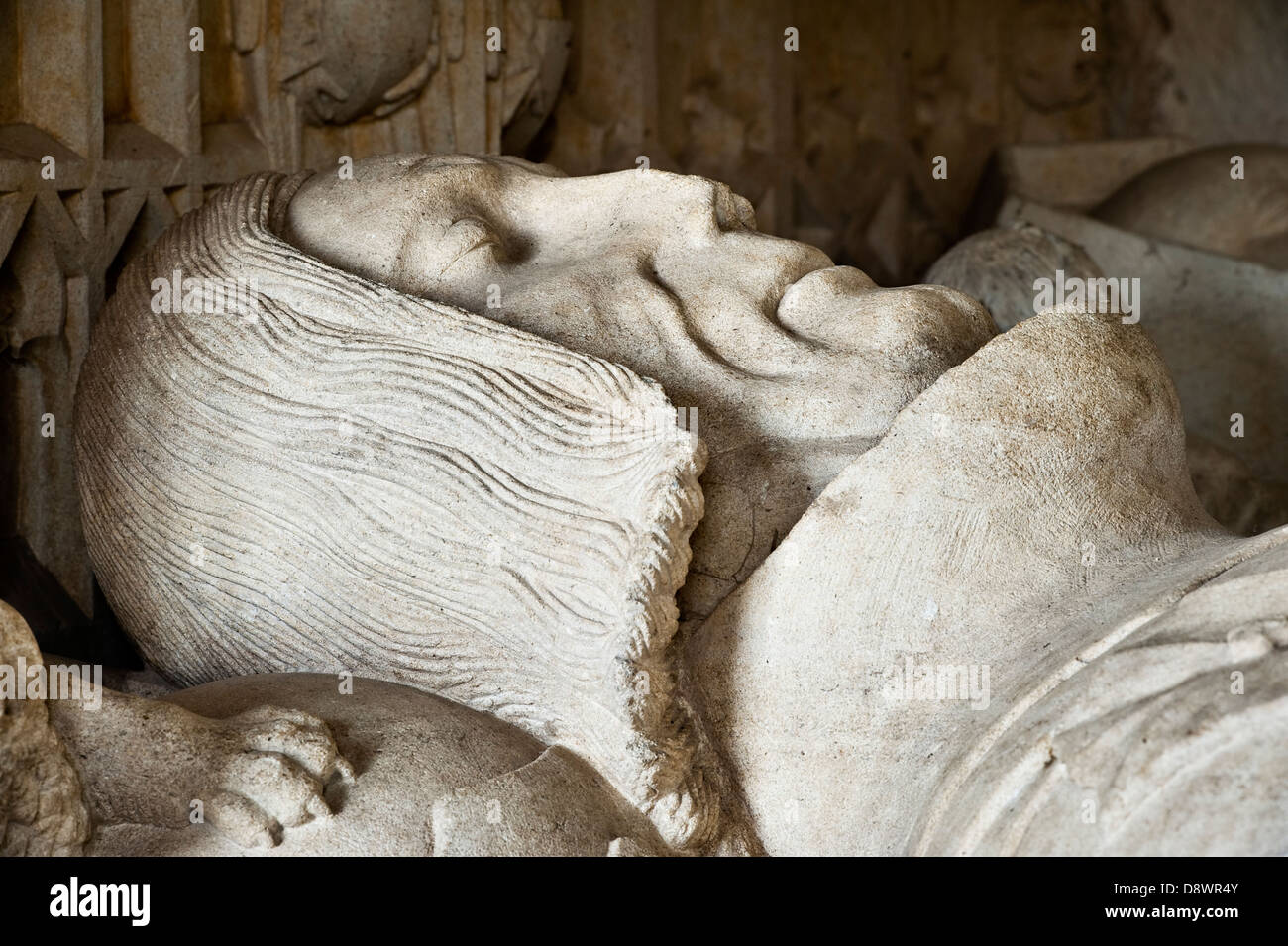Carving of Sir Richard Croft (died in 1509) on his tomb in the church of St Michael and All Angels, Herefordshire Stock Photo