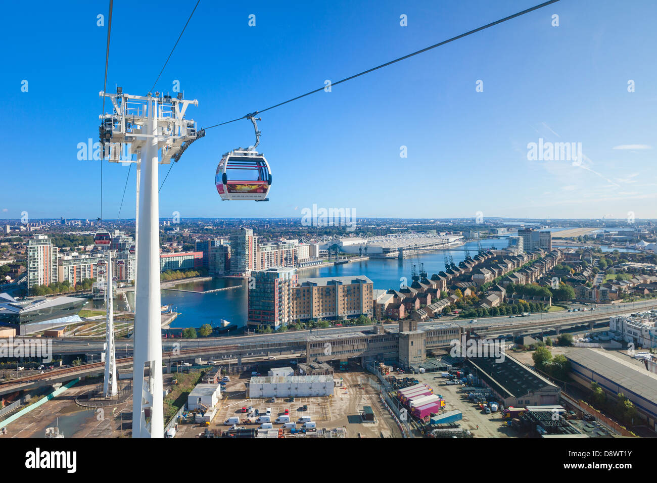 Aerial view from the Emirates Air Line cable car, London, England - Stock Image