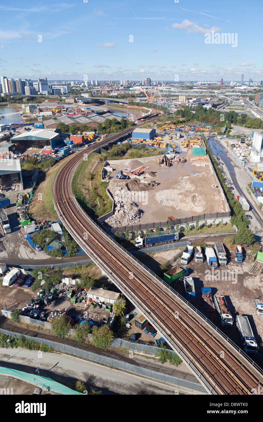 Aerial view or the dlr tracks, London, England - Stock Image