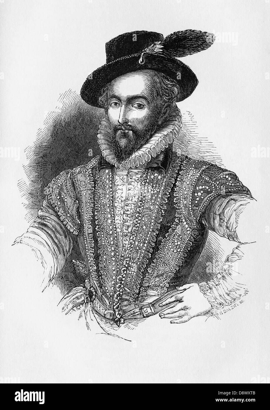 Sir Walter Raleigh (1554 – 1618), an English aristocrat, writer, and poet, - Stock Image
