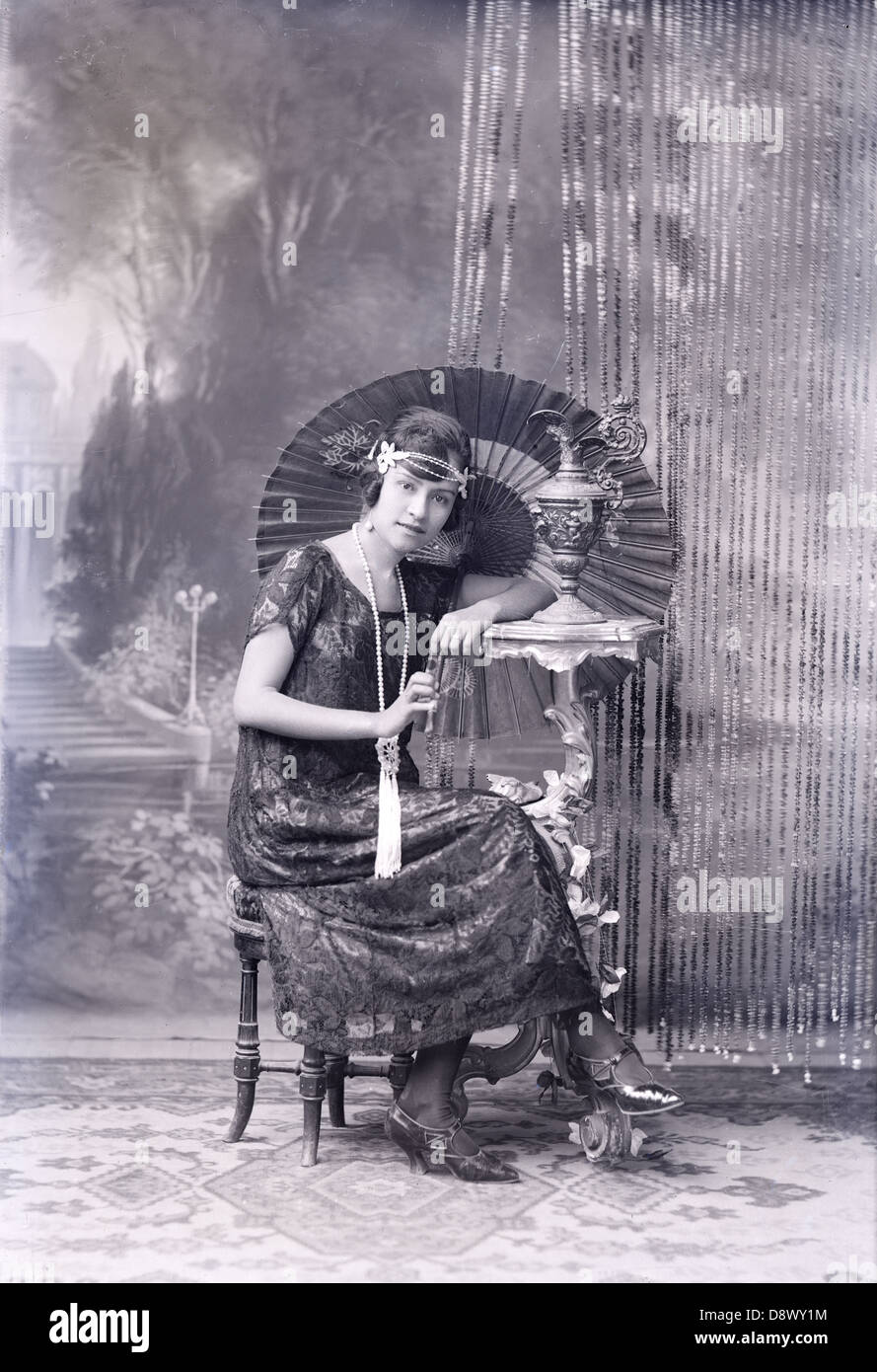 Circa 1900 photograph, portrait of a young Guatemalan woman, from an original glass negative. Stock Photo