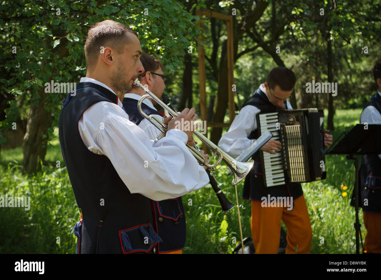 Folk musicians during concert at Upper Silesian Ethnographic Park. Chorzow/Katowice, Poland. - Stock Image
