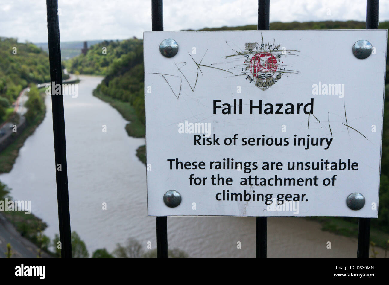 A sign above the Avon Gorge in Bristol warns that the railings are not strong enough for the attachment of climbing - Stock Image