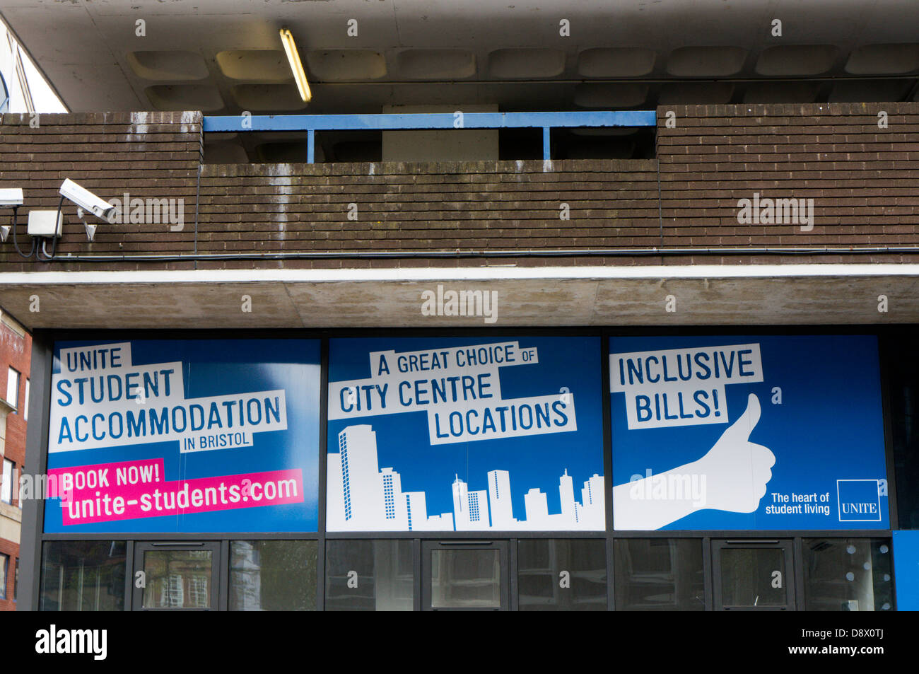 Signs for Unite Student Accommodation in Bristol, England. - Stock Image