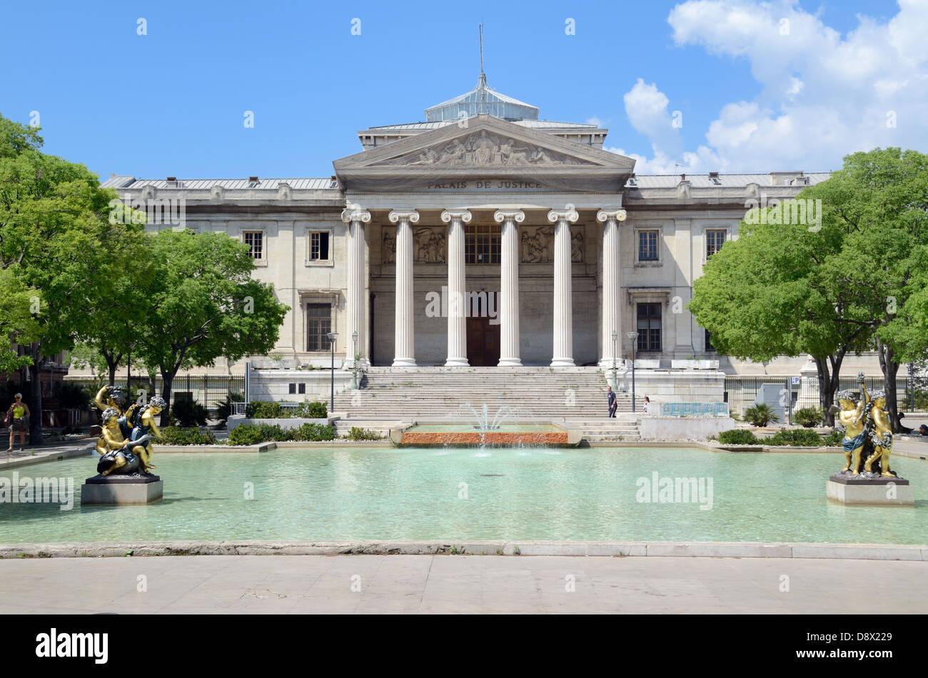 Palais de Justice (1862) Law Courts on Place Montyon Marseille France - Stock Image