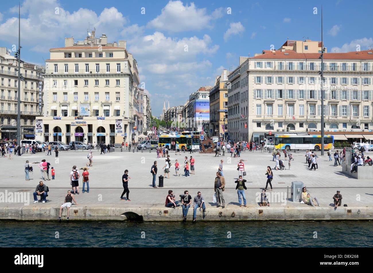 Quai des Belges Quay or Quayside & La Canebière Vieux Port or Old Port Marseille France - Stock Image