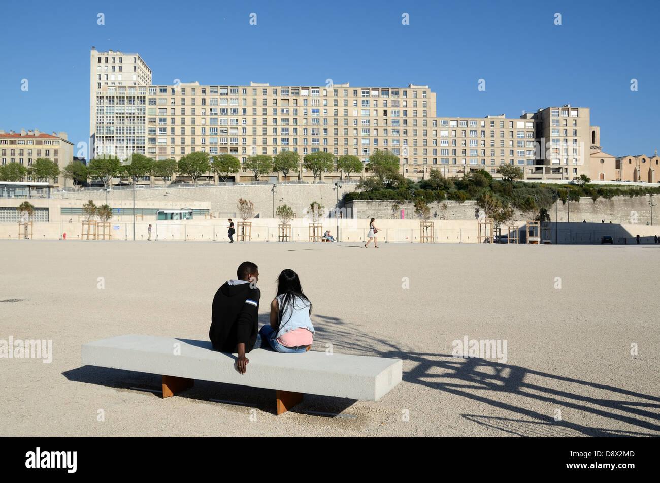 Housing Estate La Tourette & Immigrant Couple Marseille France - Stock Image