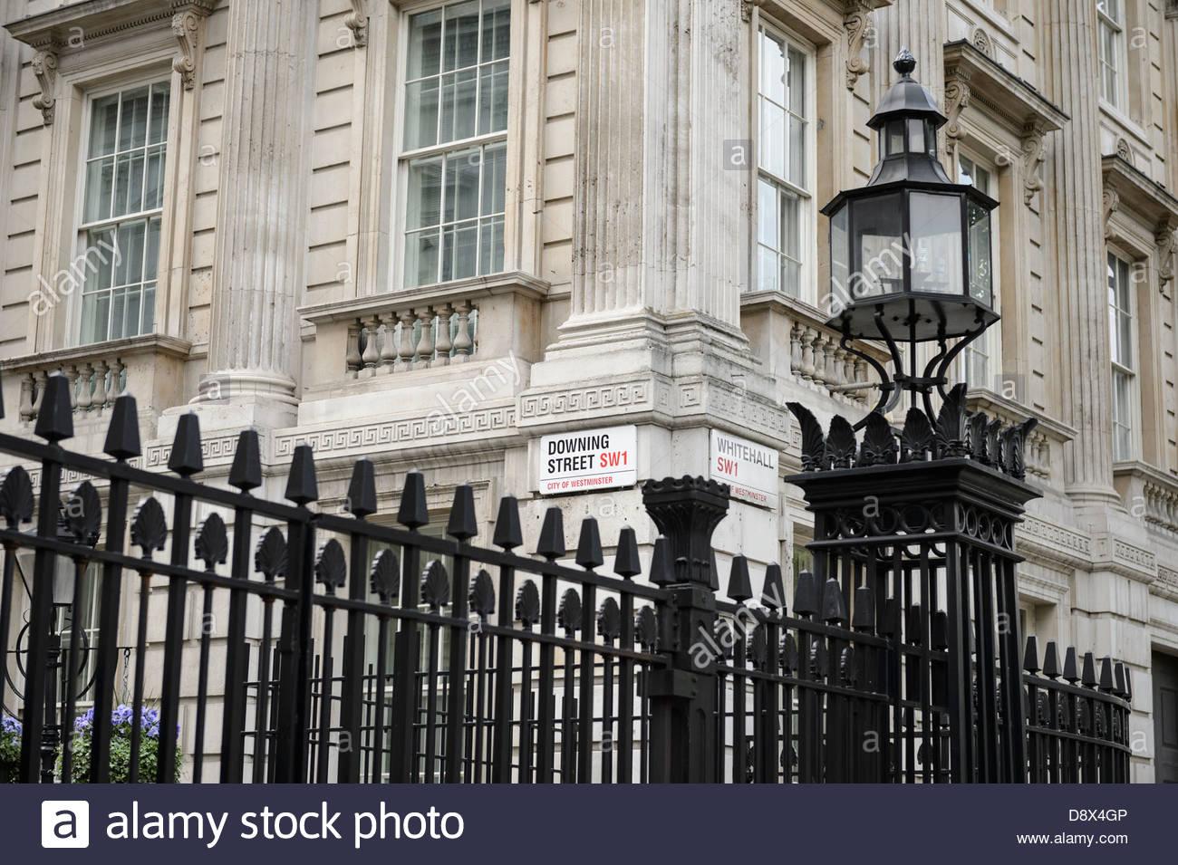 Street Sign, Downing Street, Westminster, London, England, United Kingdom 2013. - Stock Image