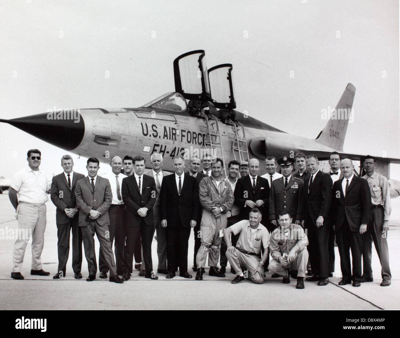Group photo with Republic F-105 - Stock Image