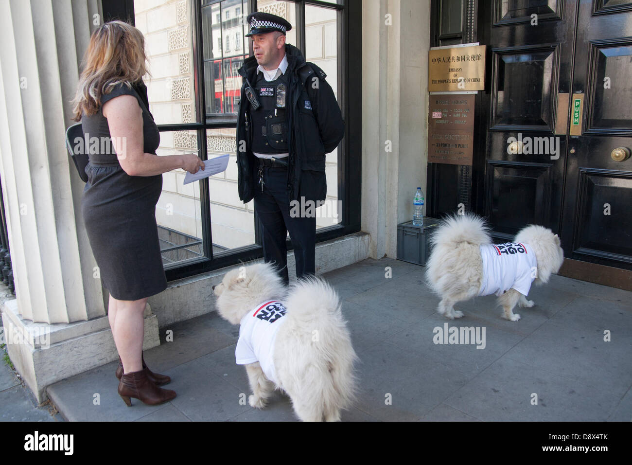 London, UK. A woman from No To Dog Meat speaks to a police officer at the Chinese embassy about handing a letter - Stock Image