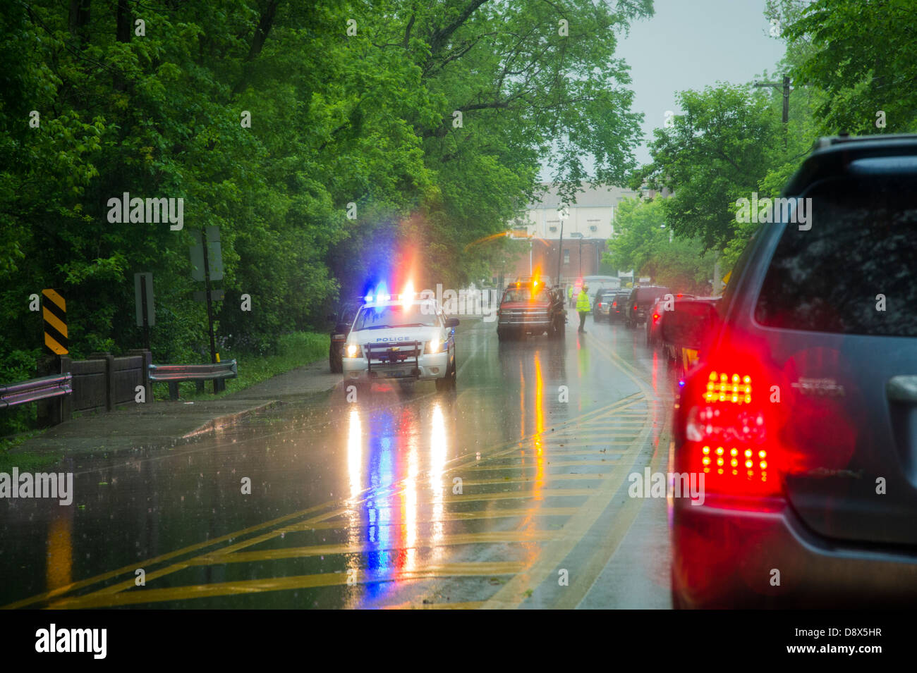 Traffic Jam In Rain Caused By Car Accident - Stock Image