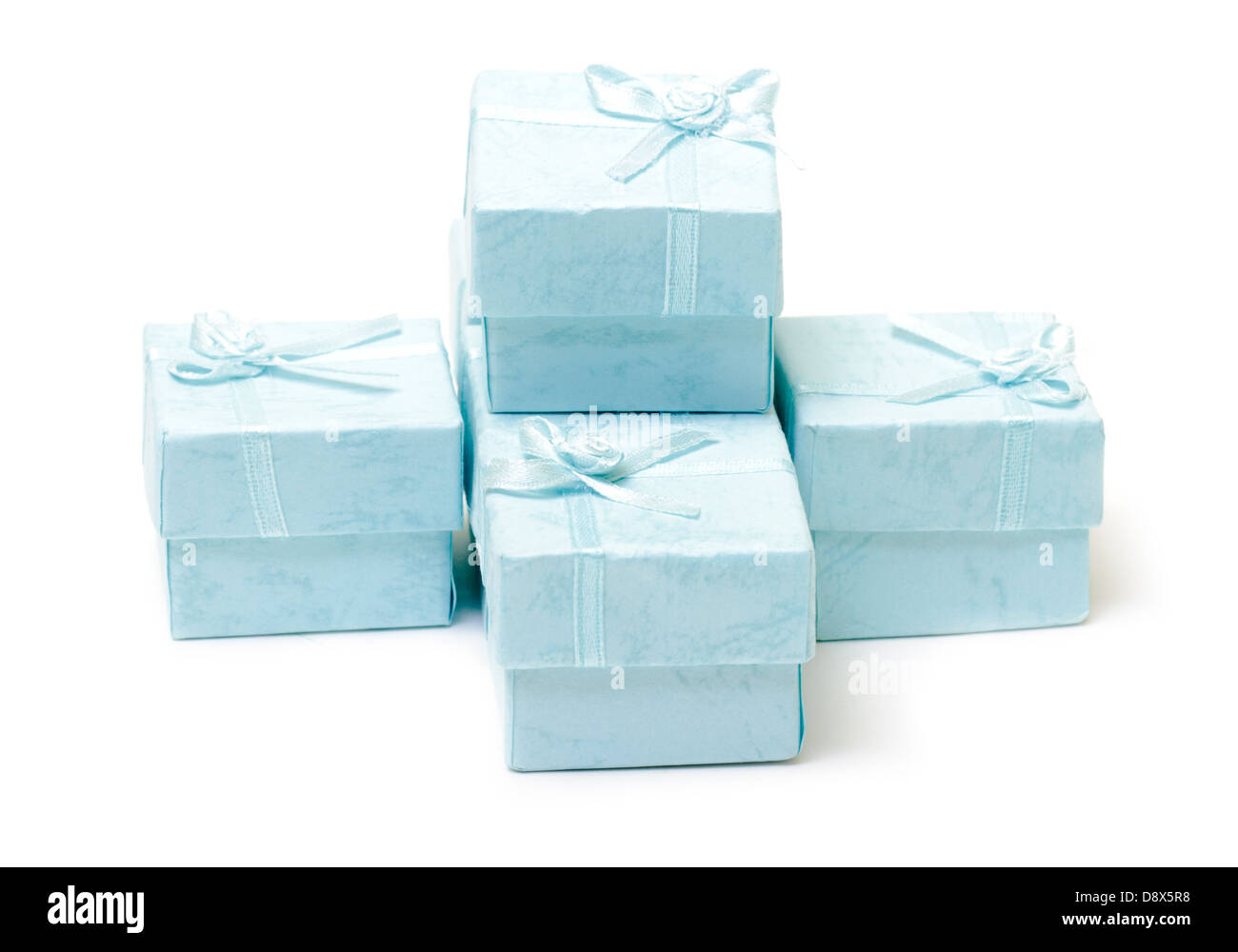 Cyan gift boxes on white background - Stock Image