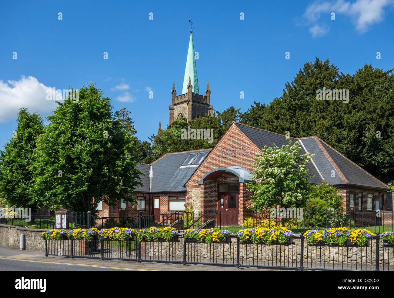 Riverhead Village Hall and St Marys the Virgin Church, Riverhead,  Sevenoaks Kent - Stock Image