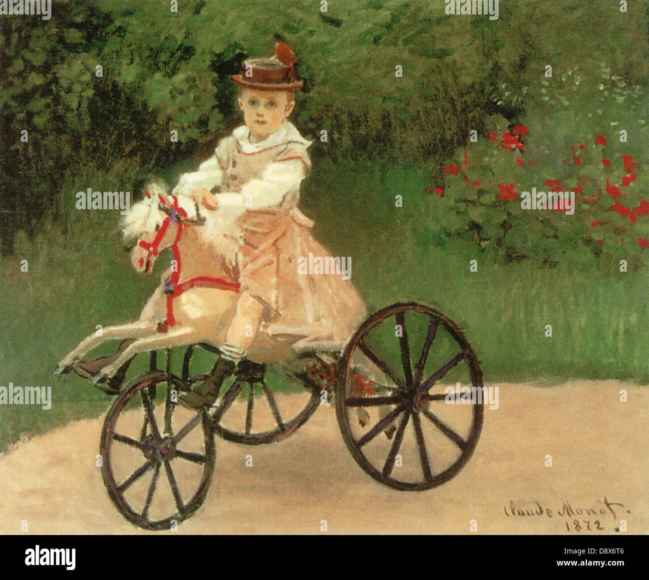 Jean Monet on his Horse Tricycle (1872) by Impressionist painter, Claude Monet - Editorial use only. - Stock Image