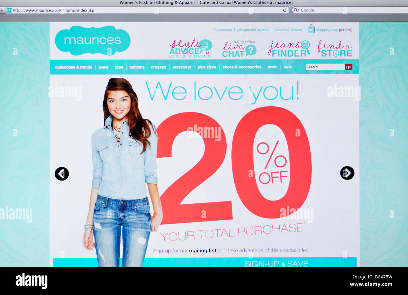 a0cc7ddfa76 Maurices clothing online store Stock Photo  57124757 - Alamy