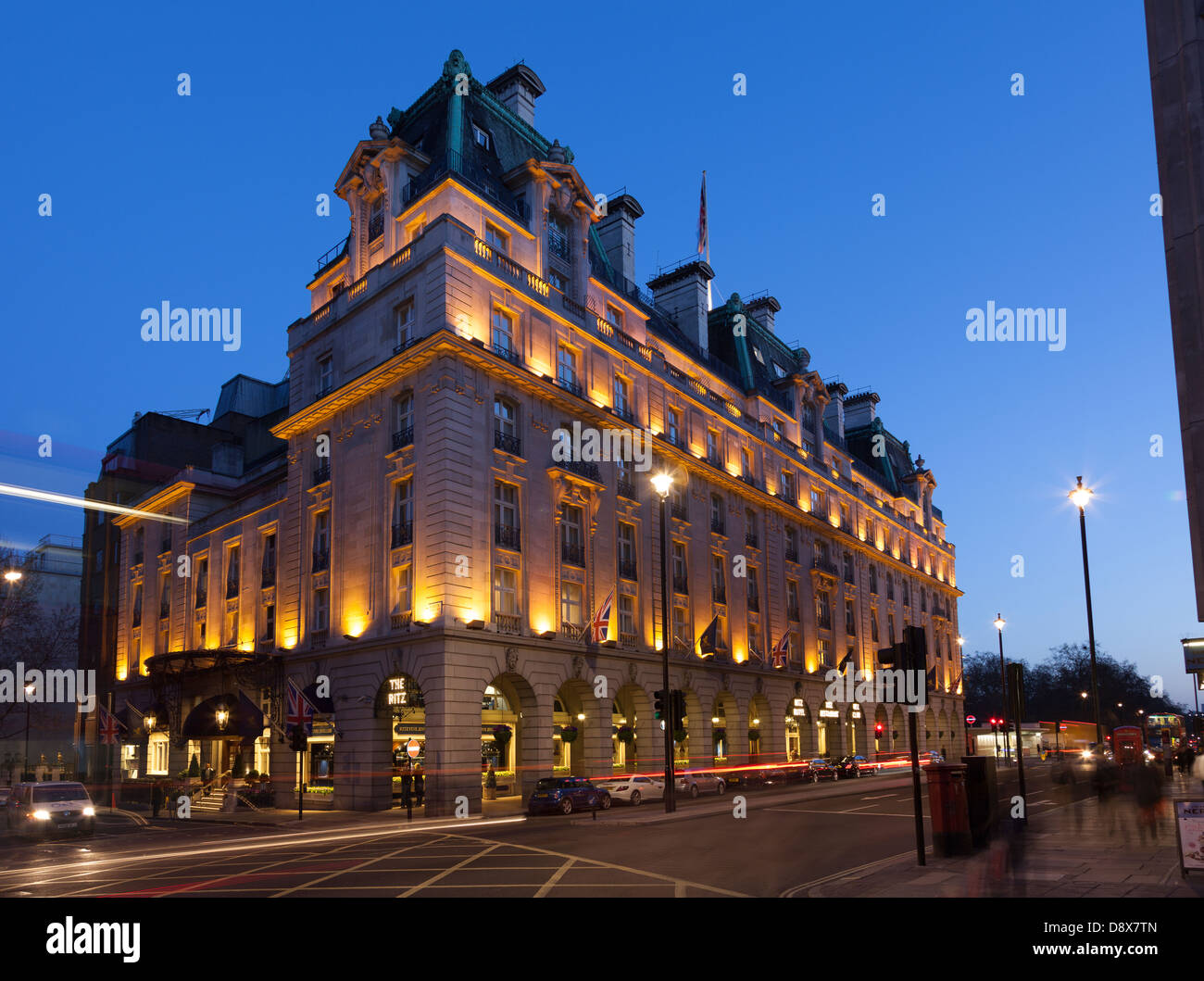 The Ritz at night,Piccadilly,London,England - Stock Image