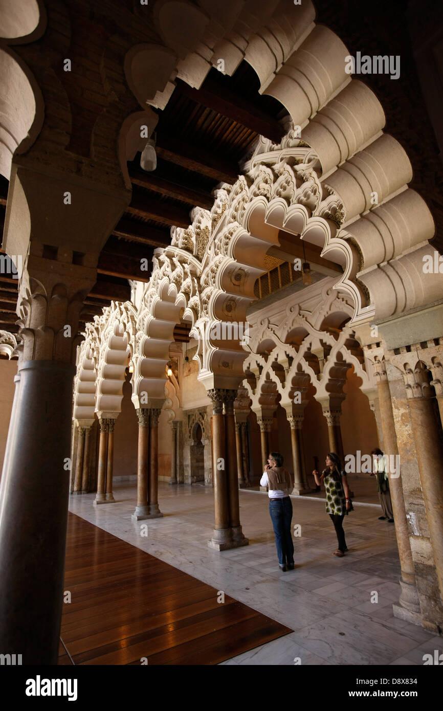 Saragossa. Archway in the north porch Aljafería Palace, XI century. - Stock Image