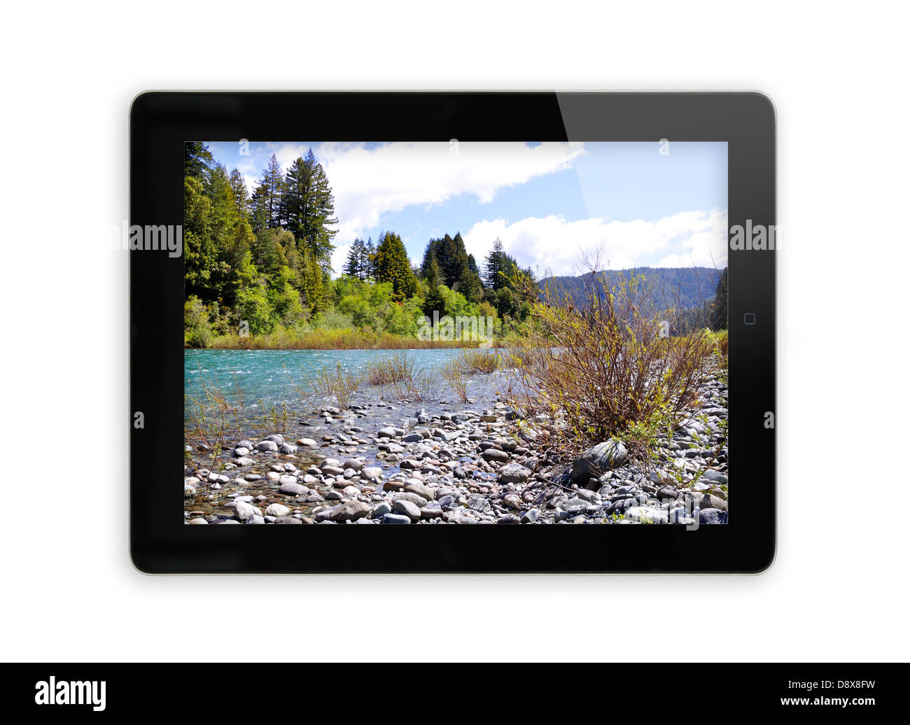 iPad screen showing photo - Stock Image