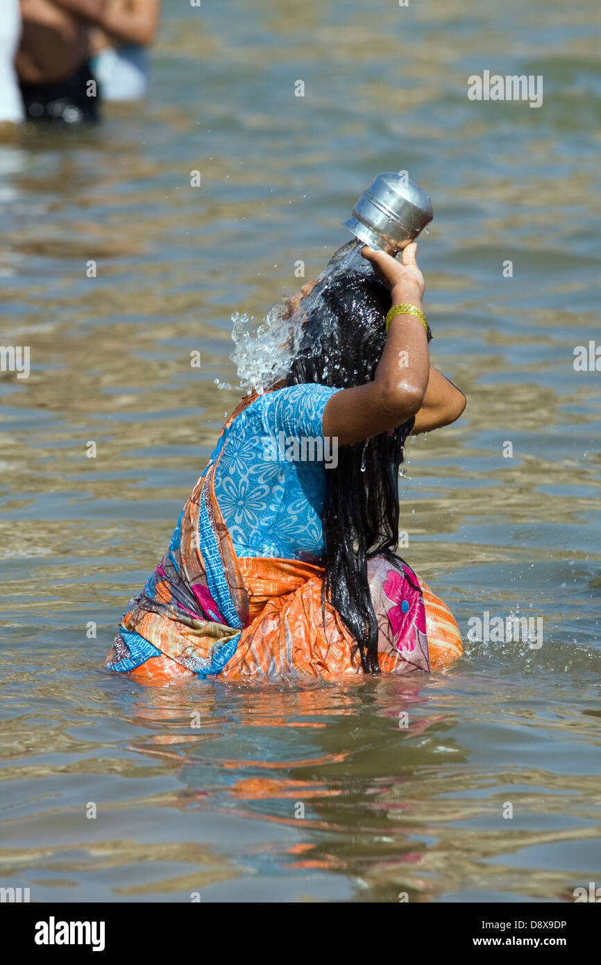 Tungabhadra river,Hampi,Karnataka,India, ritual bath,Vijayanagara - Stock Image