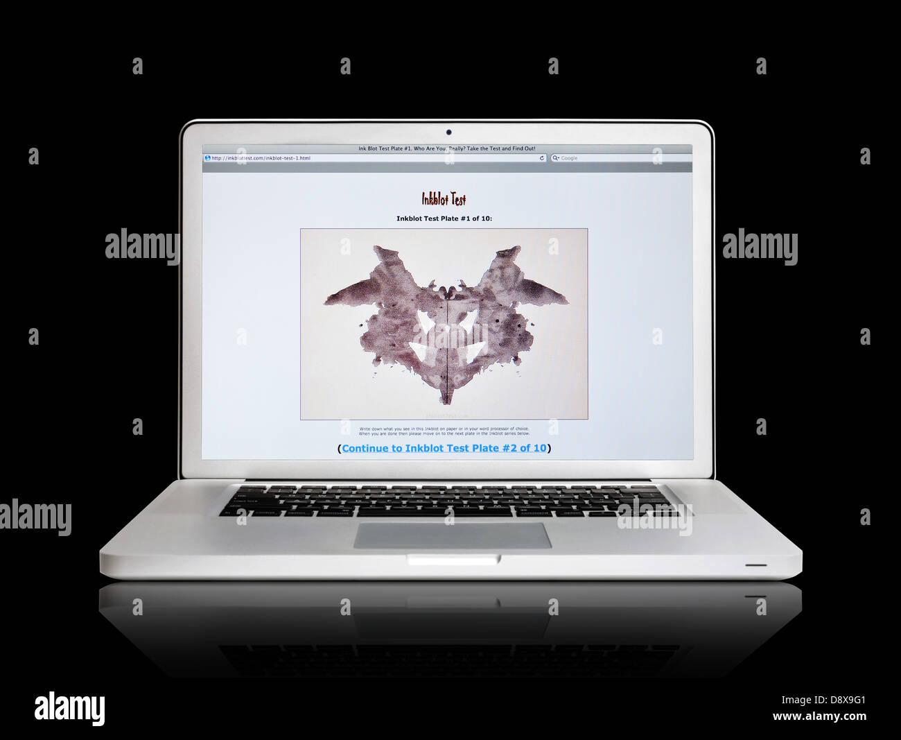Laptop Screen Showing Inkblot Test Website Stock Photo Alamy
