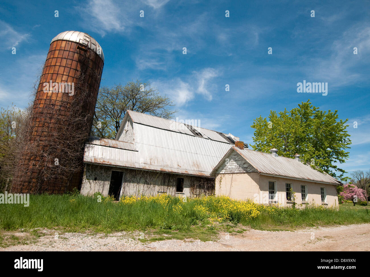 Spring on a farm in rural Carroll County, Maryland USA - Stock Image