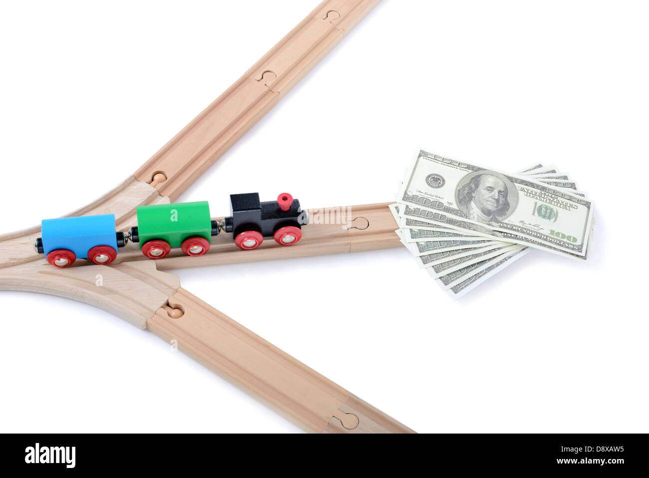 choosing the right path to success with money - Stock Image