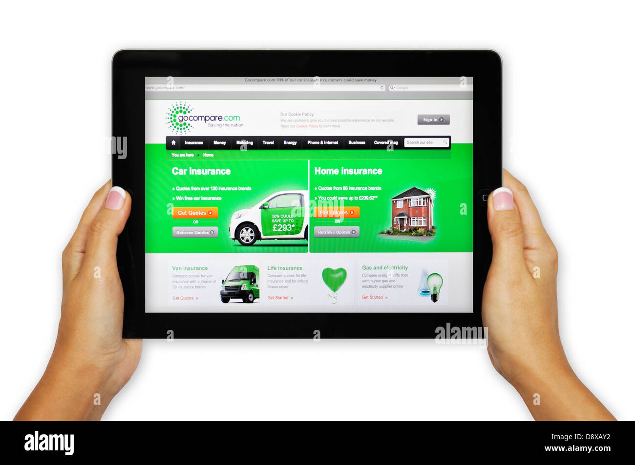 Gocompare Website Insurance Rates Comparison On Ipad Stock Photo