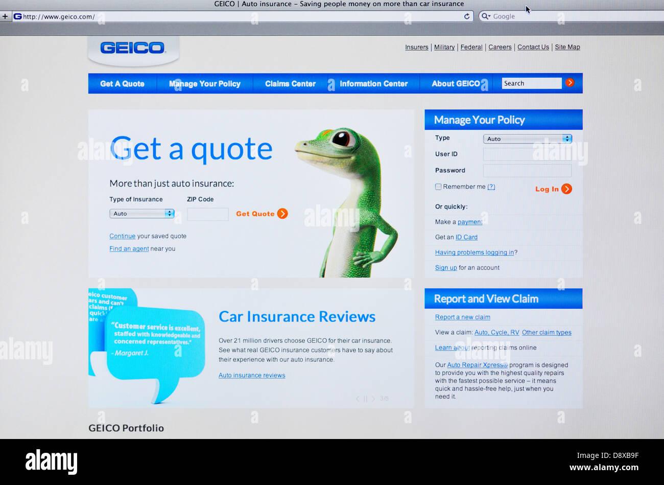 Geico Car Insurance Reviews >> Geico Car Insurance Website Stock Photo 57127995 Alamy