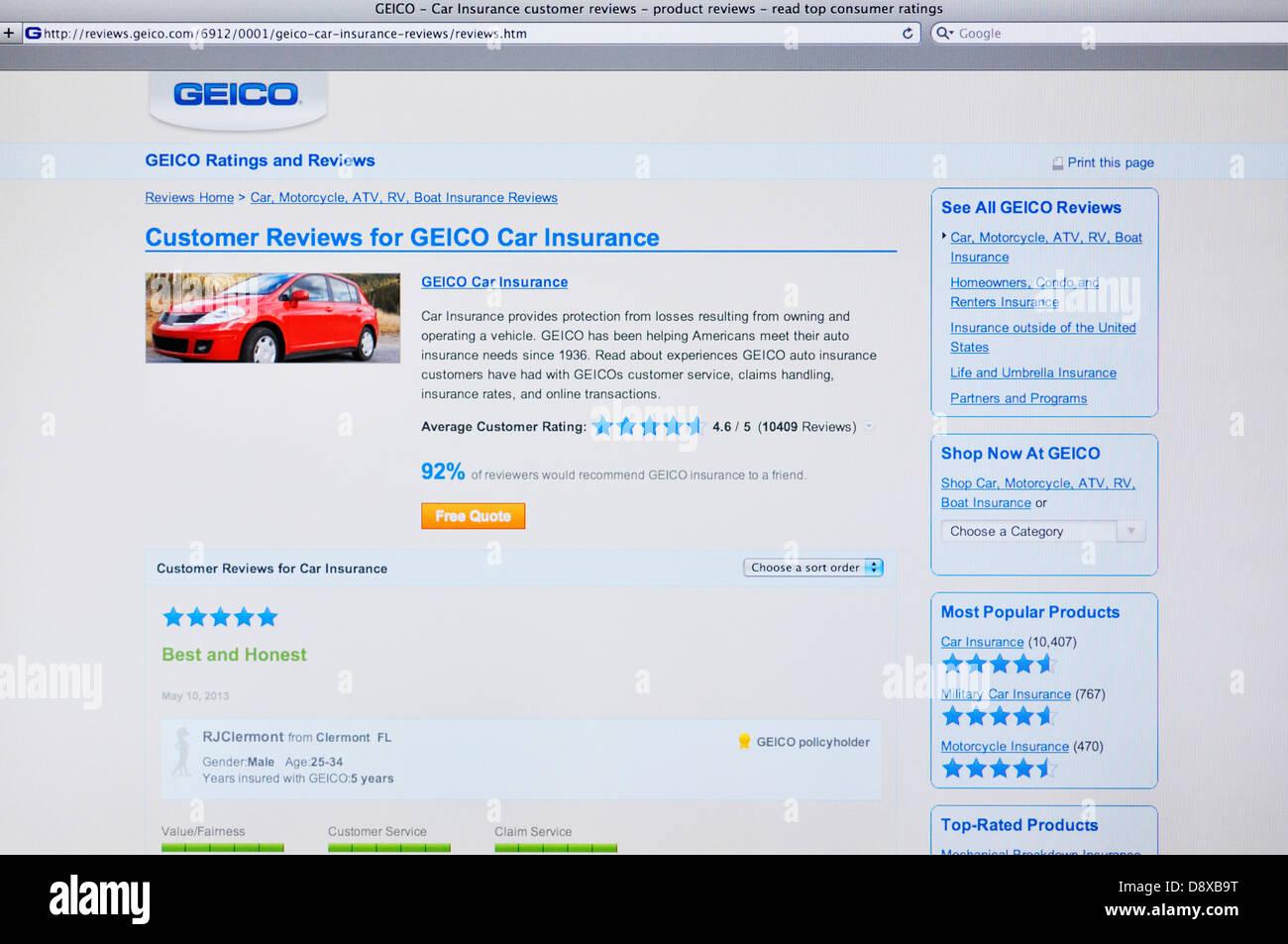 Geico Car Insurance Reviews >> Geico Car Insurance Website Stock Photo 57128004 Alamy