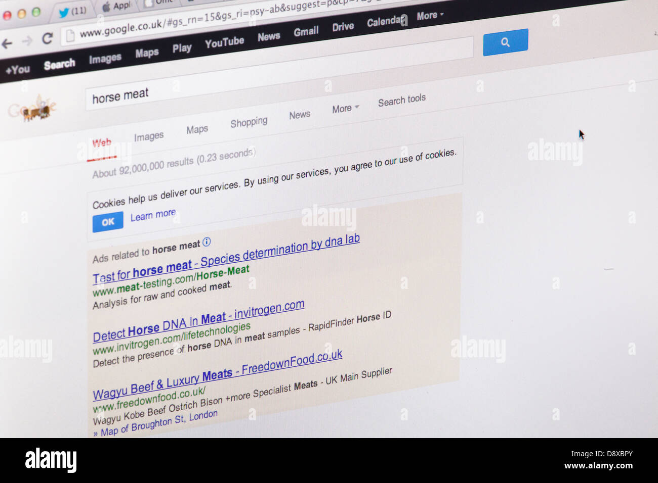 The horse meat scandal search results in Google - Website or web page on a laptop screen or computer monitor - Stock Image