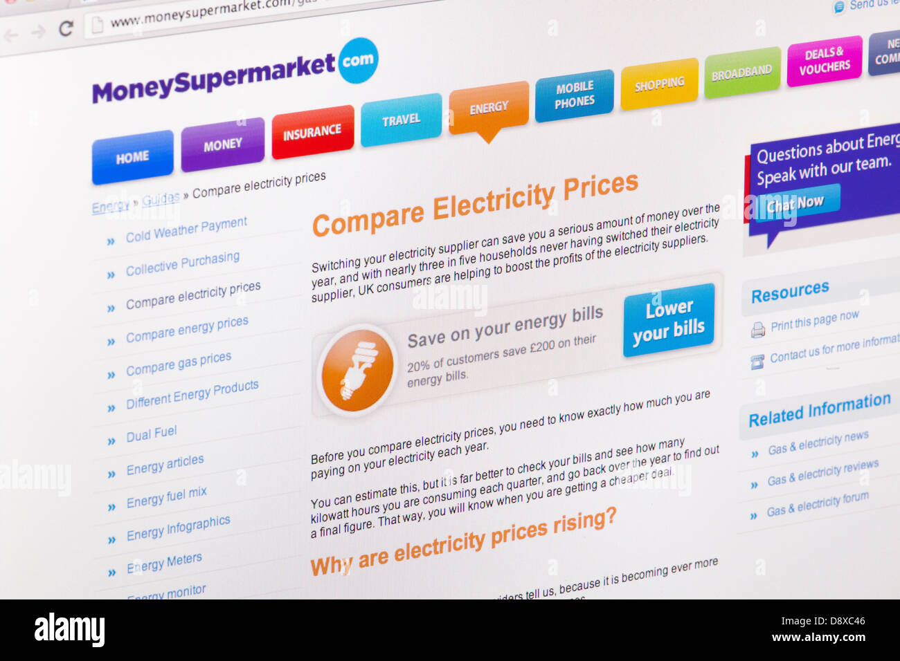 Money Supermarket compare energy prices online Website or web page on a laptop screen or computer monitor - Stock Image