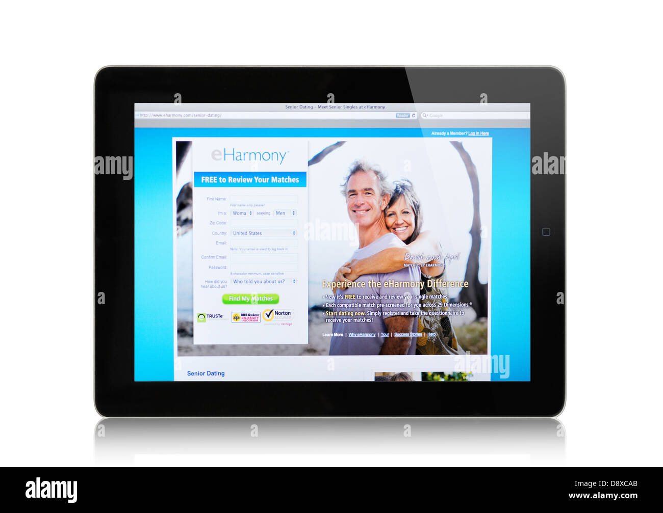 eHarmony online dating website for seniors on iPad - Stock Image