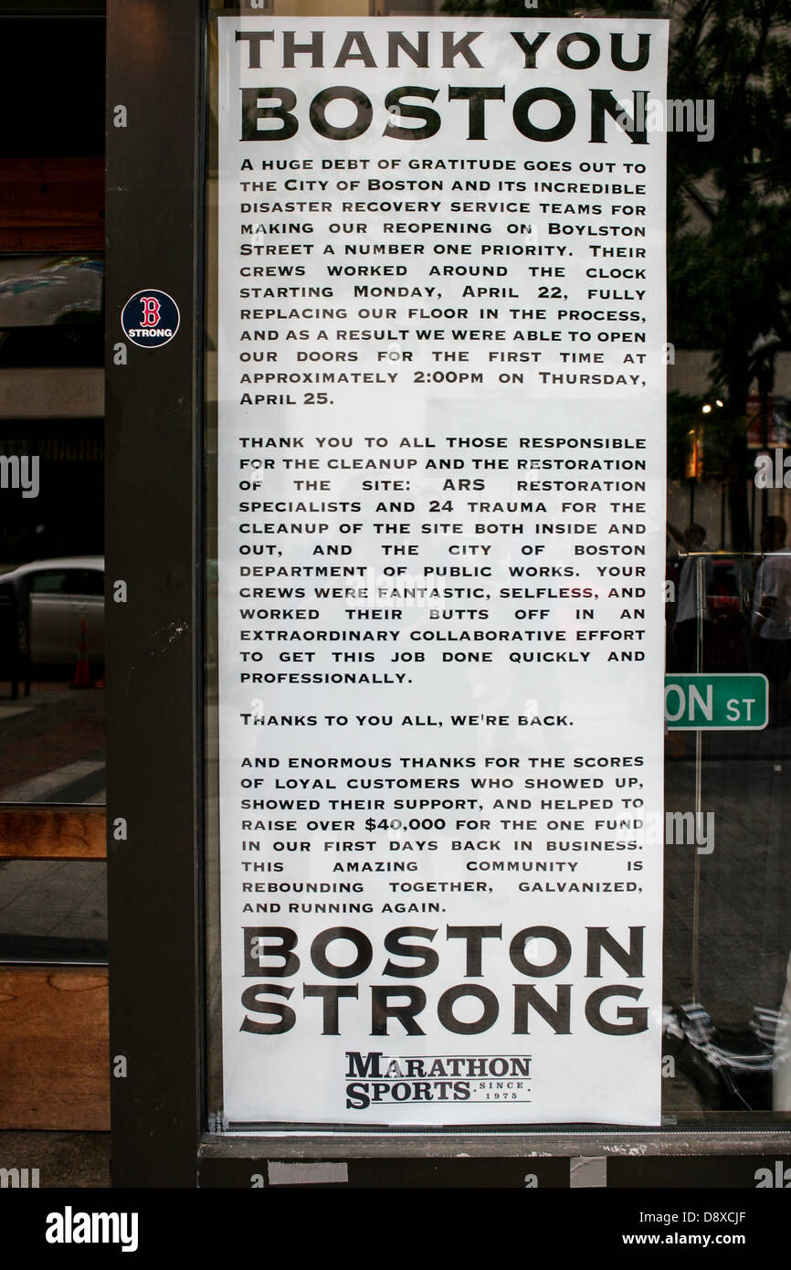 The memorial note for the Boston Marathon bombing victims vis-a-vis the Boston Public Library. - Stock Image