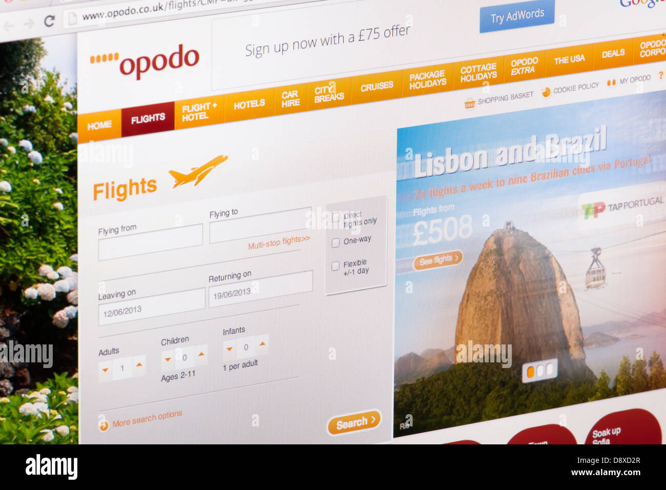 Opodo Flights Website or web page on a laptop screen or computer monitor - Stock Image
