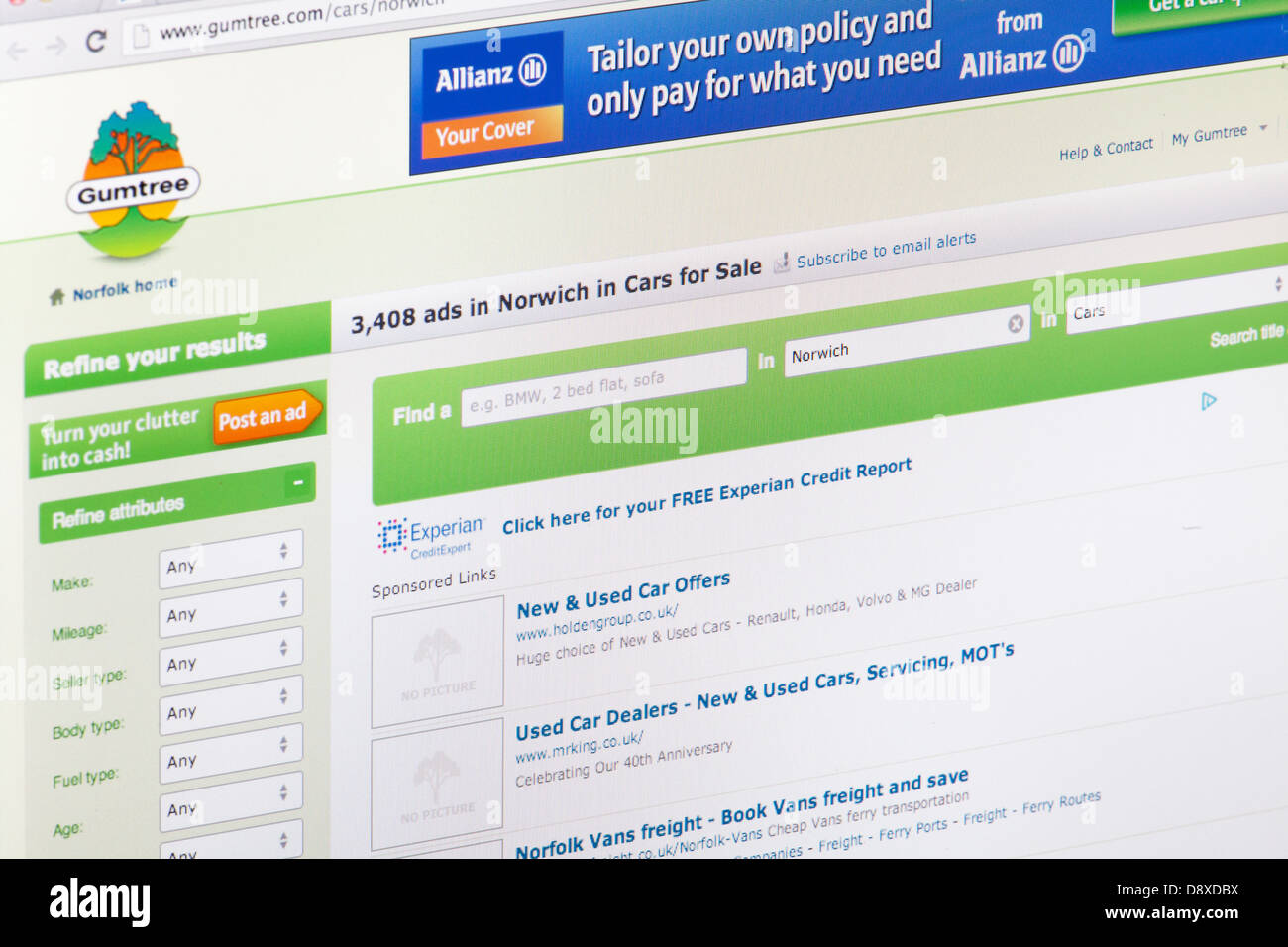 Gumtree Freeads free local advertising Website or web page on a laptop screen or computer monitor - Stock Image