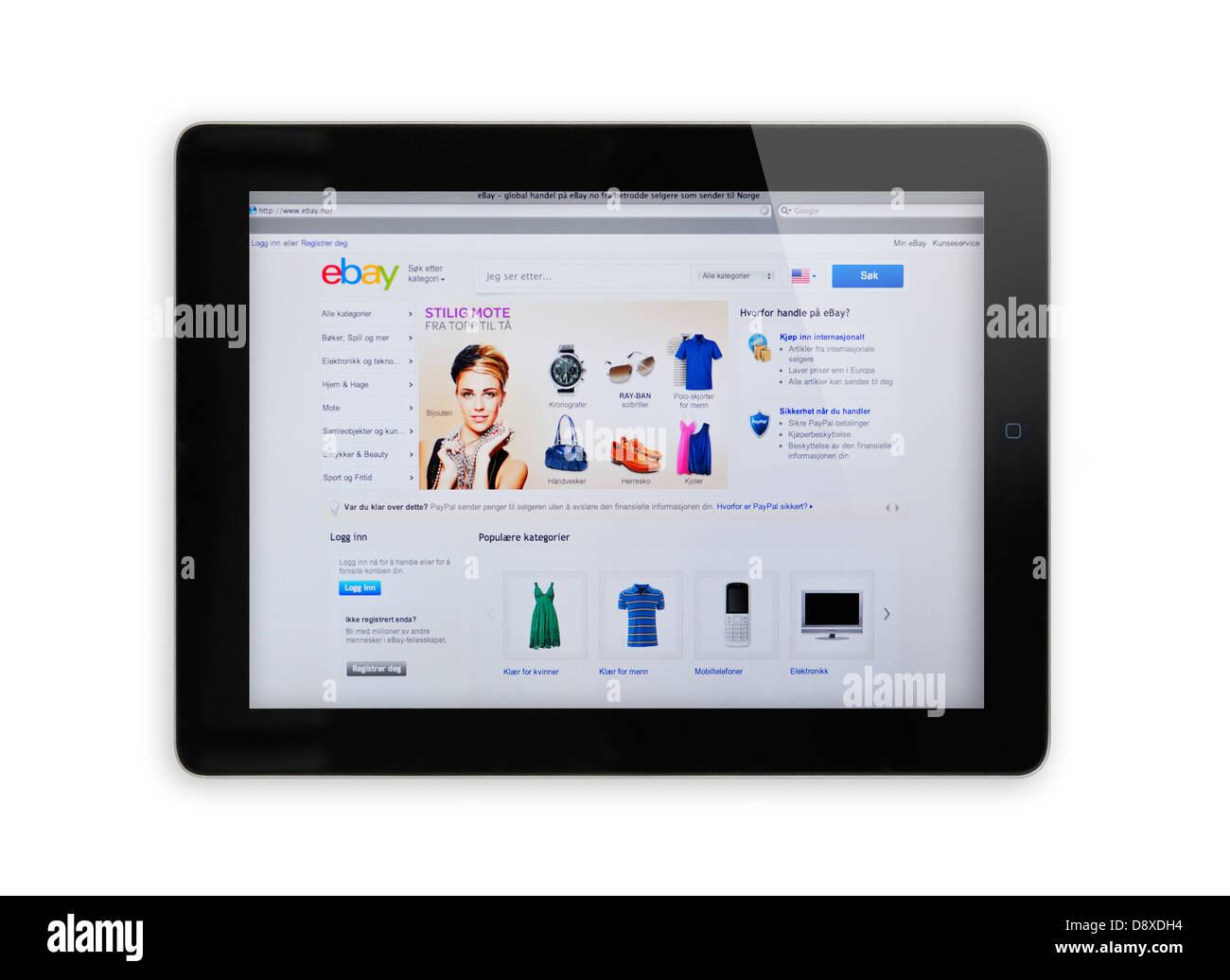 9579b7a8 Norway eBay online shopping website on iPad screen Stock Photo ...