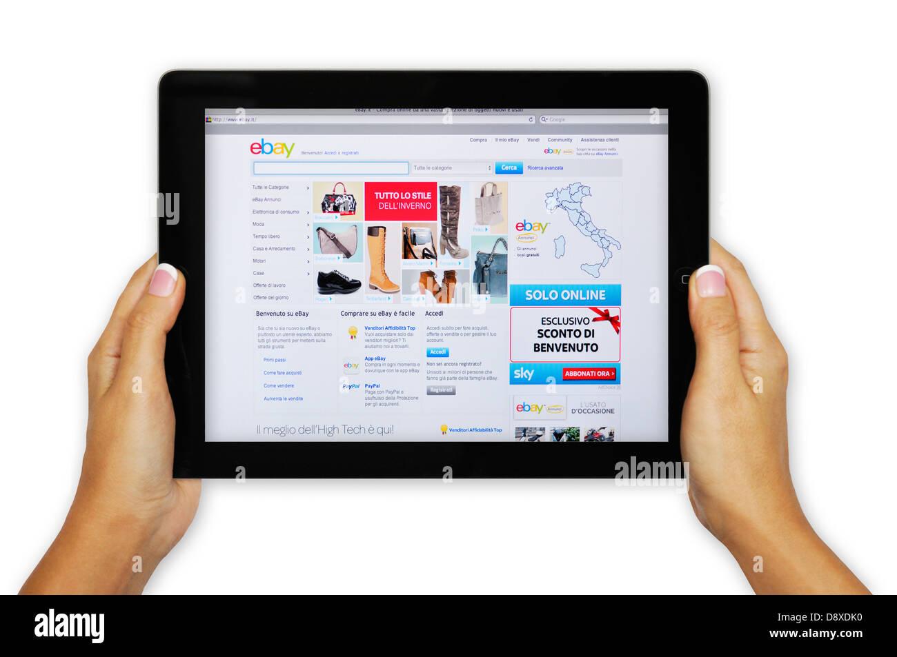 promo code 69e0a 23d2c Italy eBay online shopping website on iPad screen Stock ...