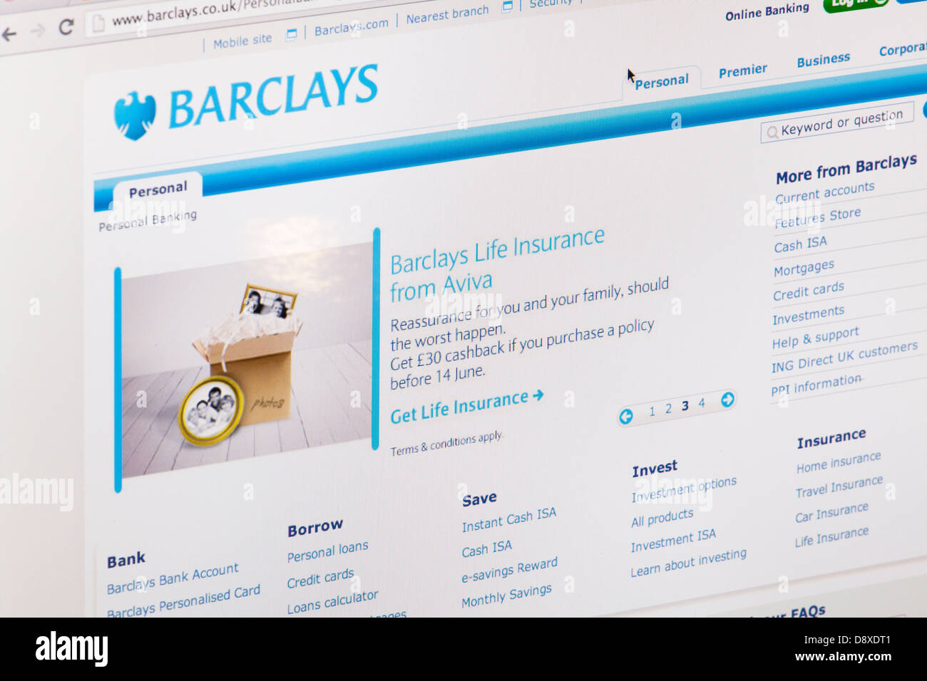 Barclays Online Banking Website or web page on a laptop