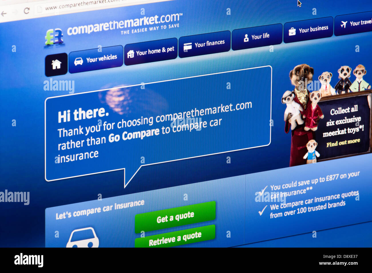 Compare the market comparison website or web page on a laptop screen or computer monitor - Stock Image