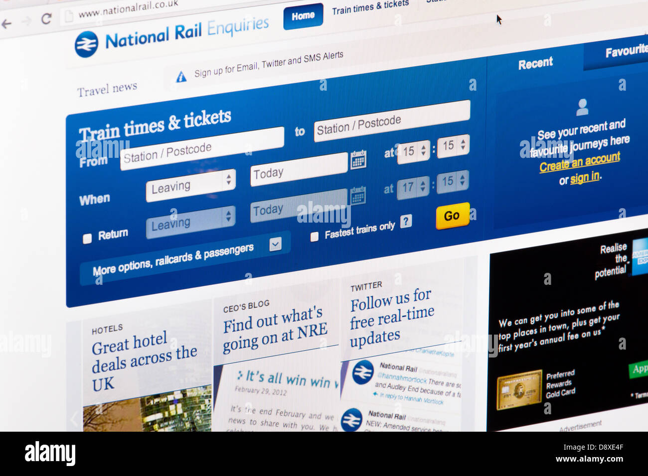 National Rail Ticket Enquiries Website or web page on a laptop screen or computer monitor - Stock Image