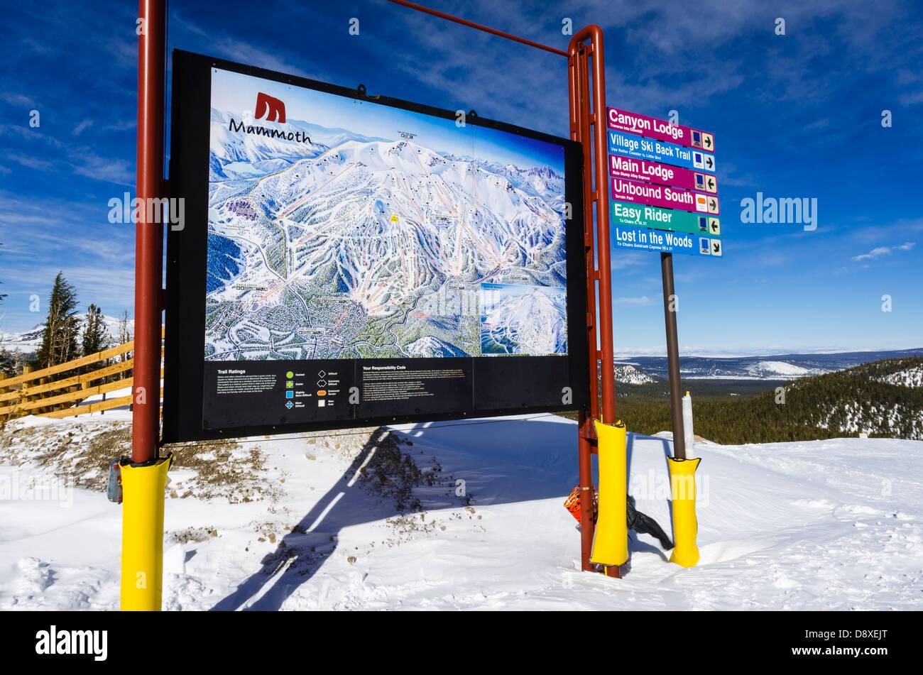 Skiing In California Map.Trail Map Mammoth Mountain Ski Area Mammoth Lakes California Usa