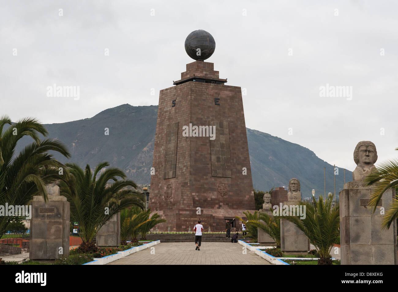 Mitad del Mundo, Monument, Marking the Equatorial Line, Near Quito, Ecuador - Stock Image