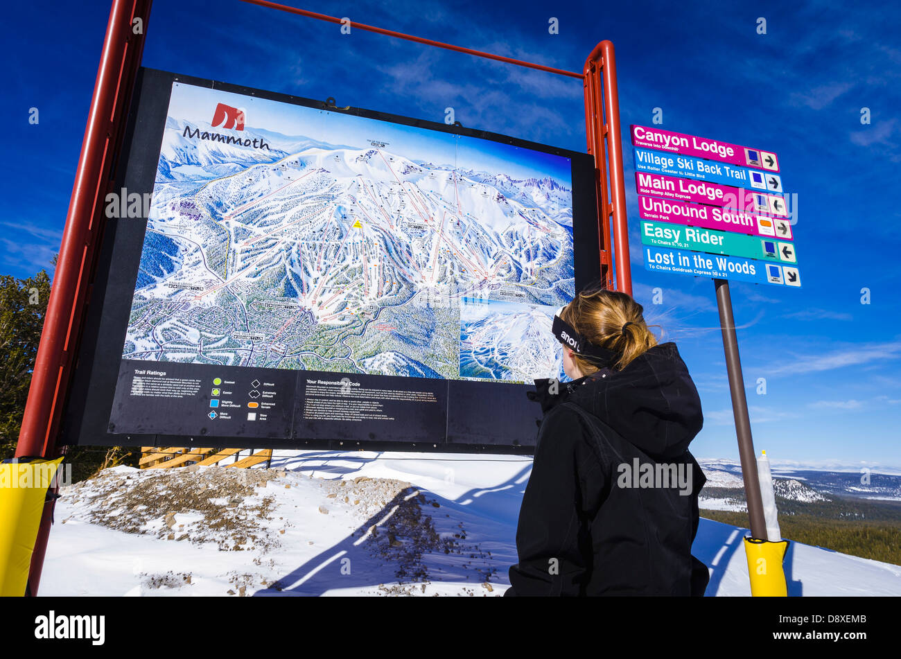 Snow boarder and Trail map, Mammoth Mountain Ski Area ... on mammoth sites in north america maps, mammoth california airport map, mammoth resort map, june mountain trail map,