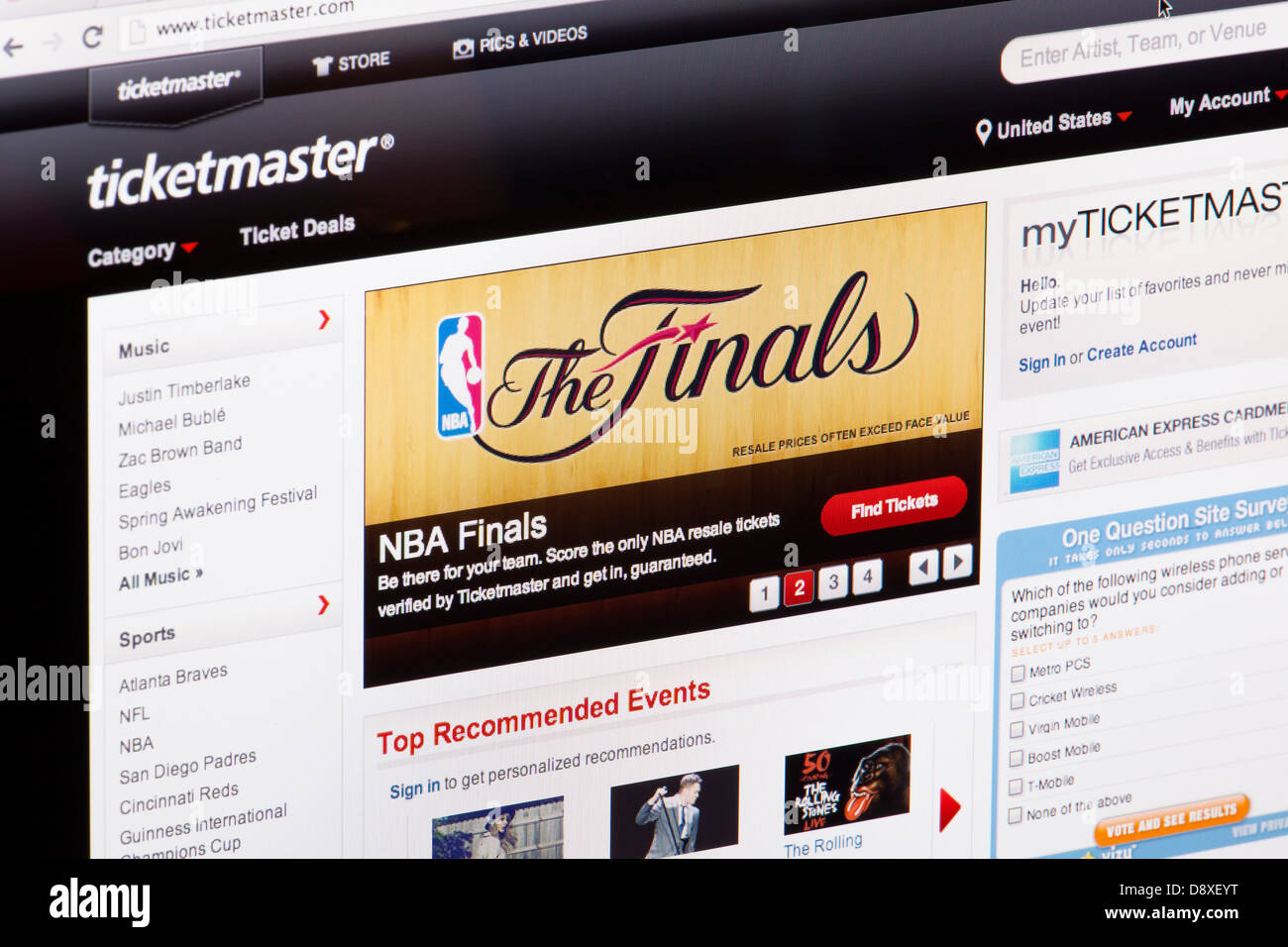 Ticket Master Website or web page on a laptop screen or computer monitor - Stock Image