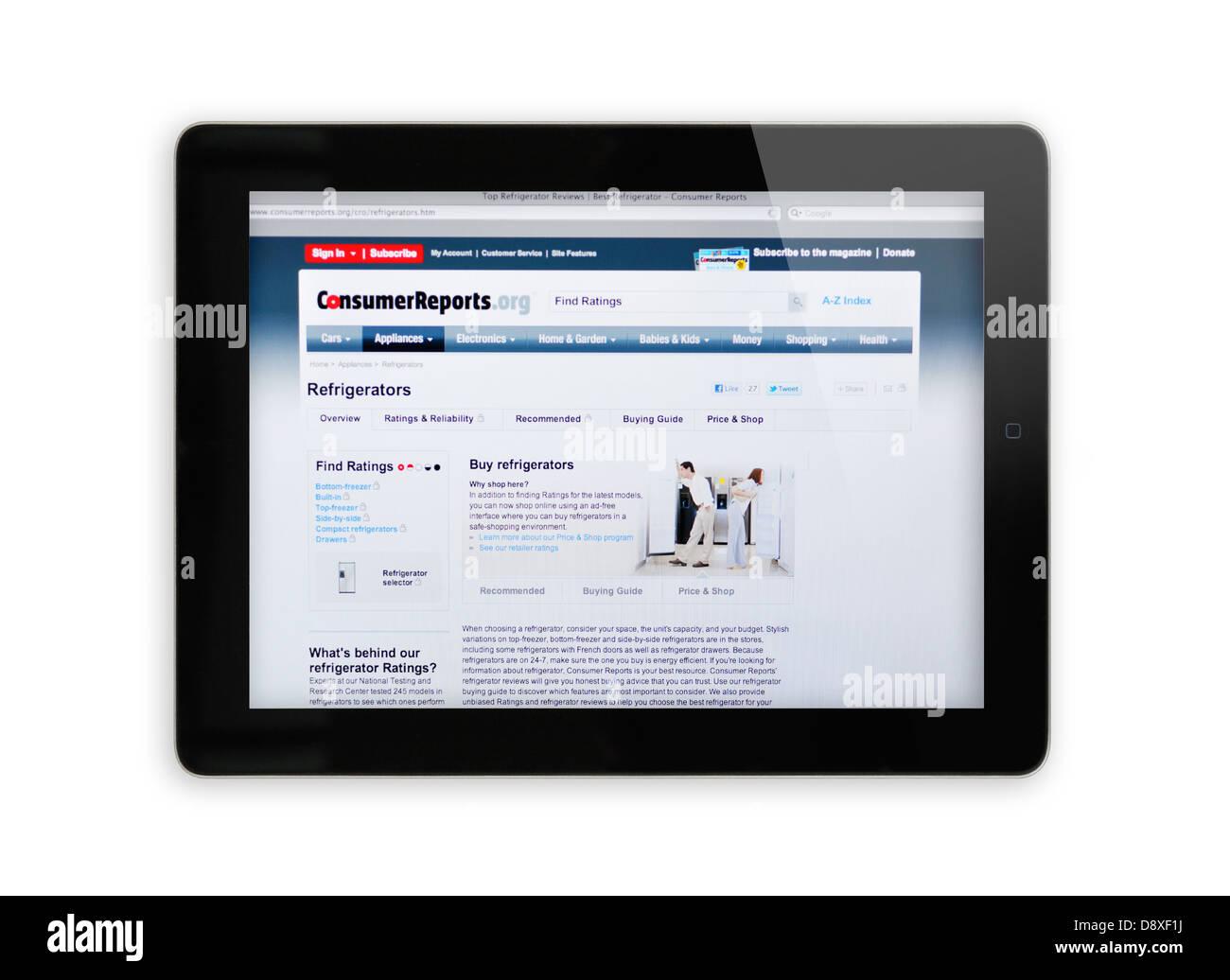 iPad screen showing Consumer Reports website - online