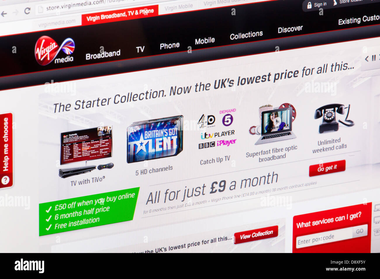 Virgin Media Home Page - Website or web page on a laptop
