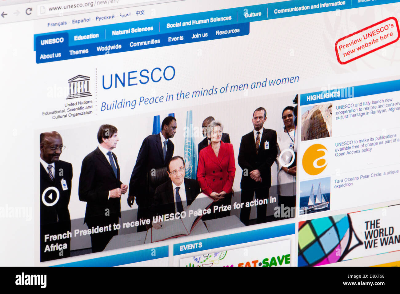 UNESCO homepage Website or web page on a laptop screen or computer monitor - Stock Image