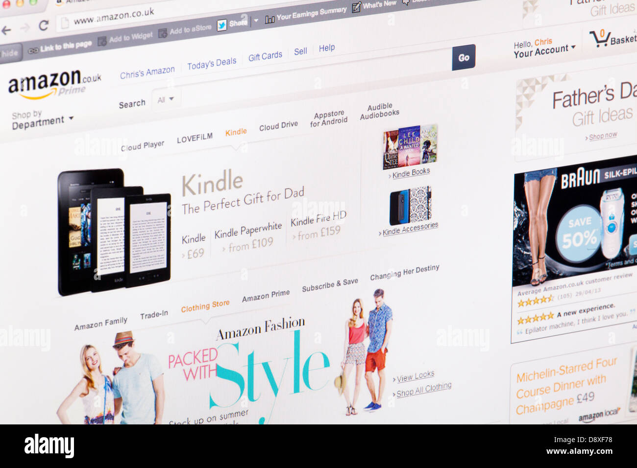 Amazon Shop Online Homepage Website or web page on a laptop screen or computer monitor - Stock Image