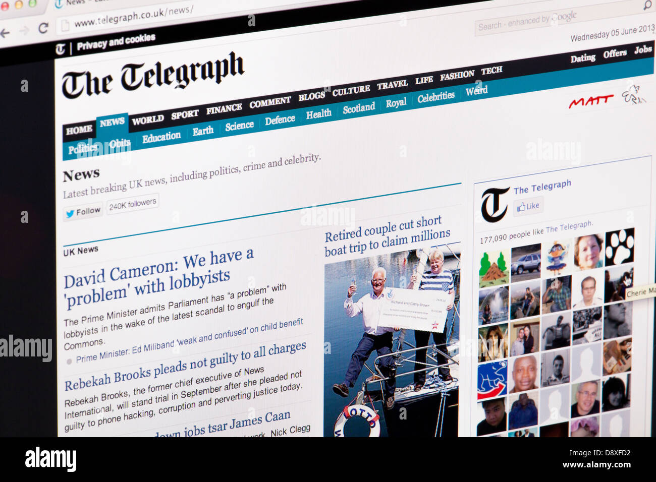 The Telegraph Newspaper Website or web page on a laptop screen or computer monitor - Stock Image