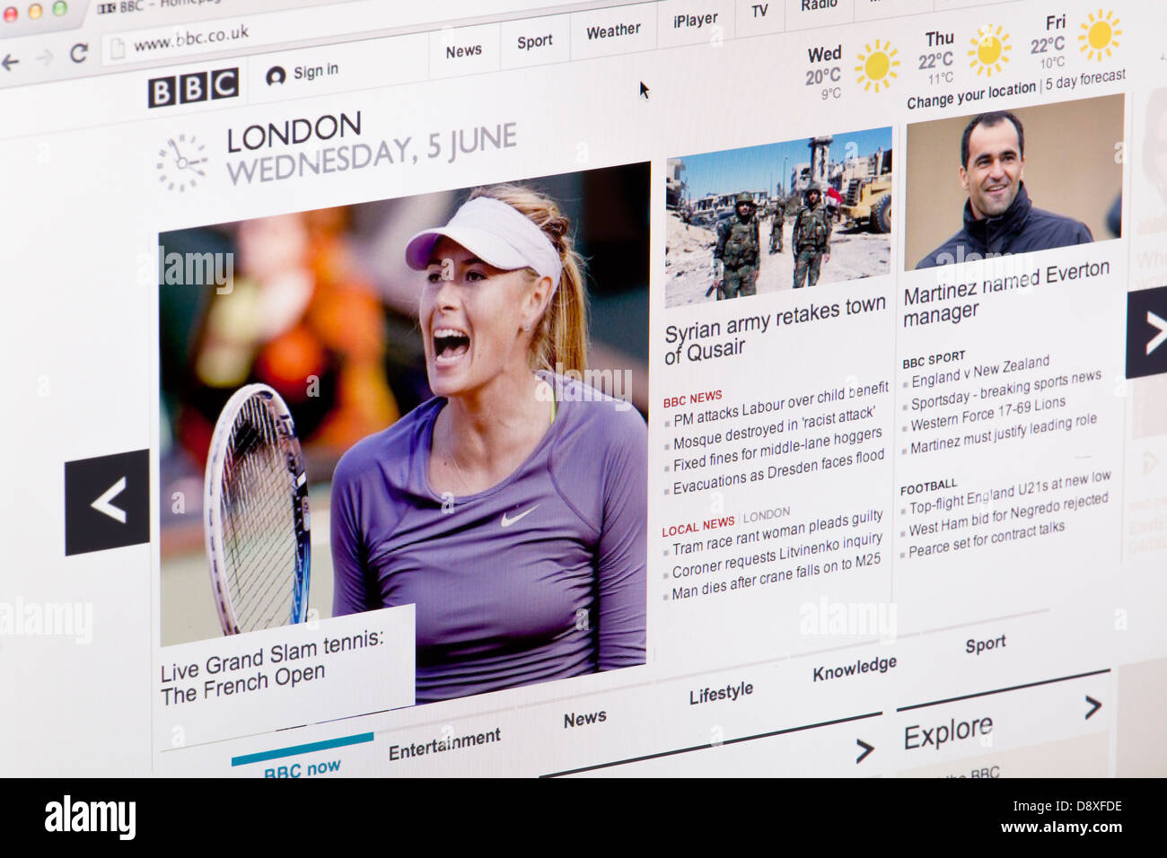 BBC News London Sport Website or web page on a laptop screen or computer monitor - Stock Image